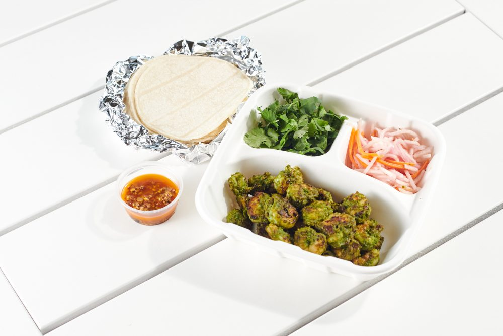 spice things up with the #bartacosecret chile-lime shrimp taco—spicy + tangy chile-lime marinated shrimp resting on a crisp + bright vegetable escabeche and finished with a flavorful pepita salsa macha.