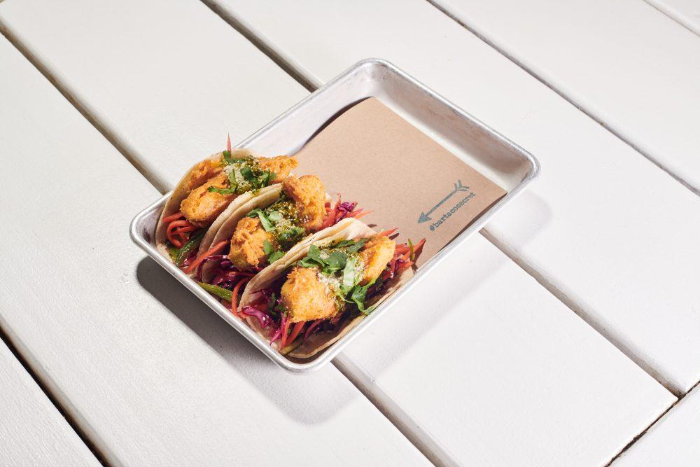 #bartacosecret crispy avocado tacos—tempura battered crispy + creamy avocado, on a tangy + crunchy veracruz slaw topped with a bright cilantro vinaigrette and sprinkled with cotija cheese.